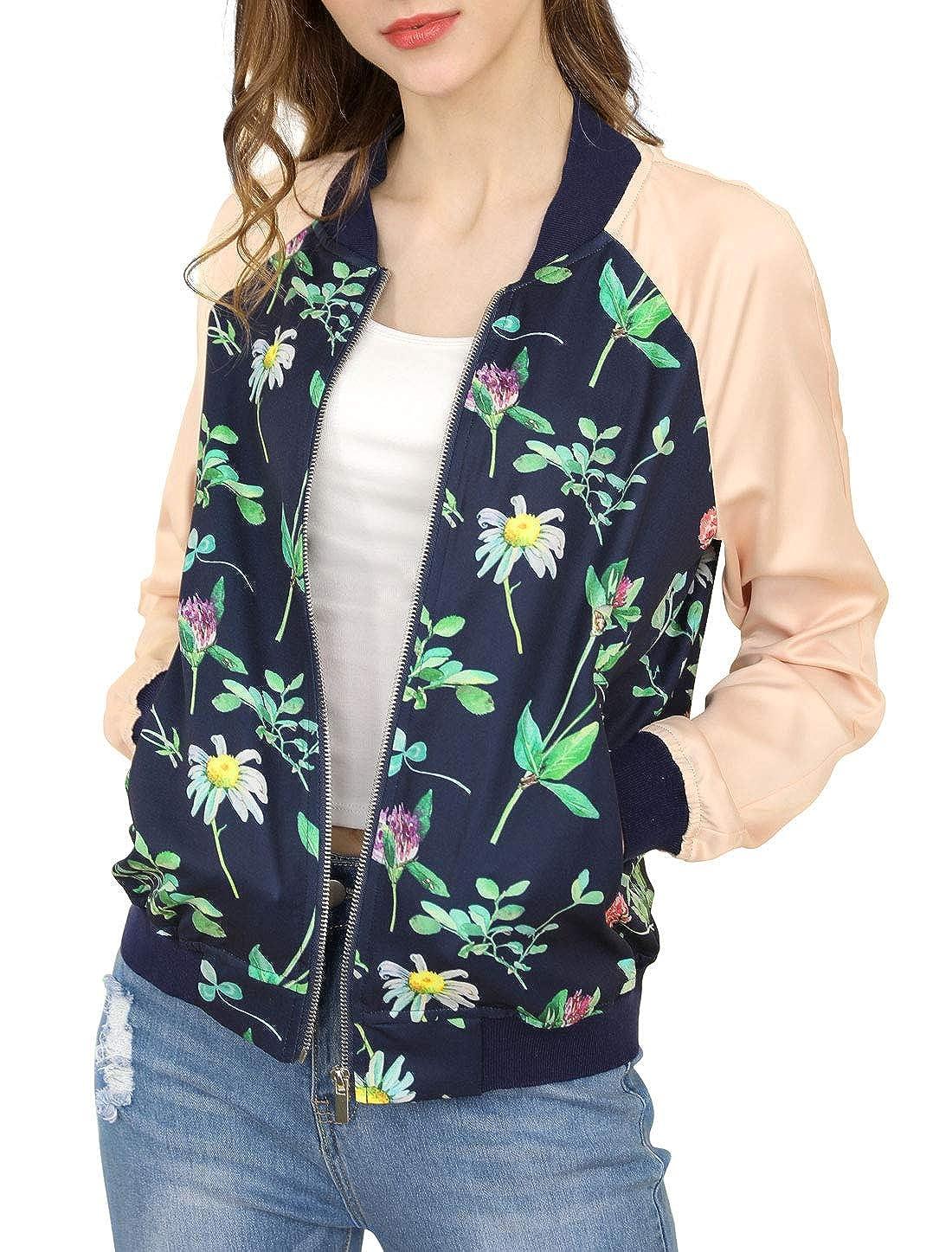 54fe908fb Allegra K Women's Floral Jackets Contrast Zip Up Light Weight Bomber ...