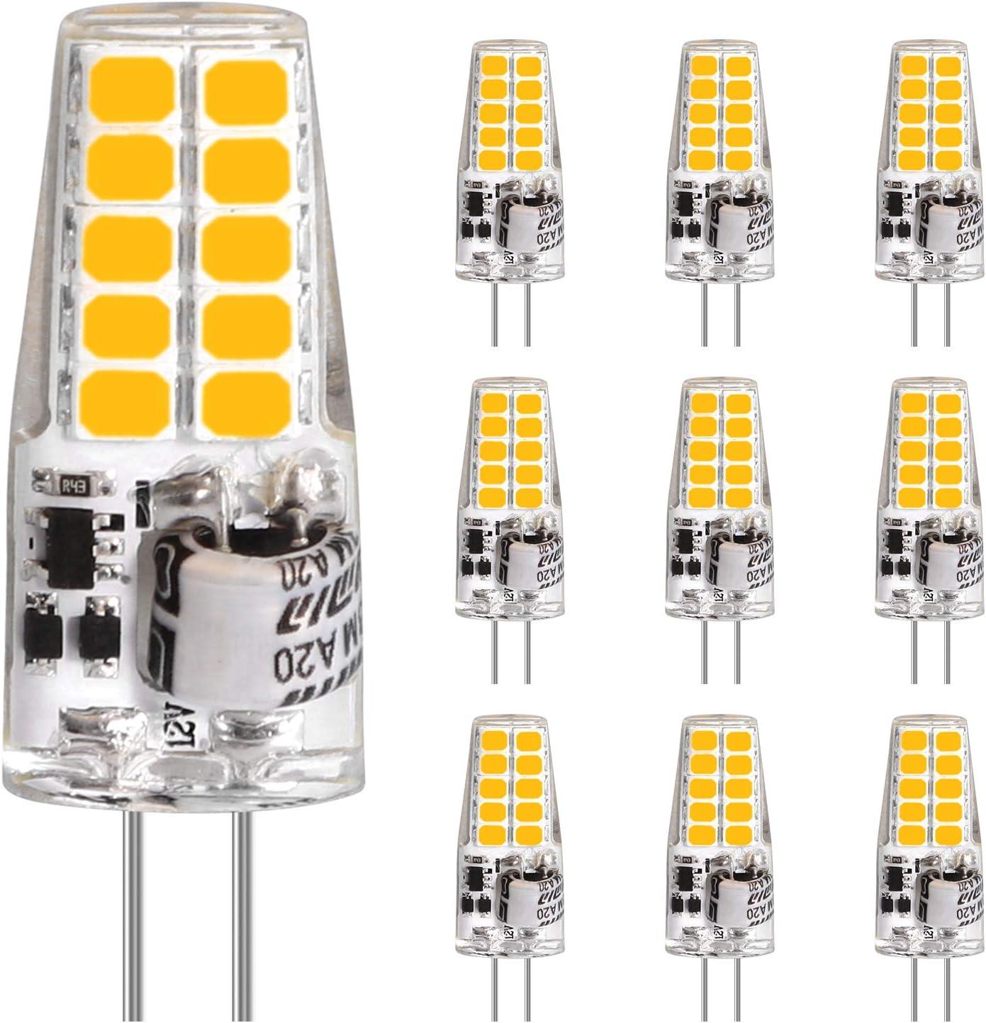 Bombillas LED G4, LEDGLE 3.5W 20LEDs Equivalente 35W Halogenas, 350LM, AC/DC 12V, Blanco Cálido 2700K, Ángulo de Haz de 360°, No Regulable G4 LED Bombillas, Paquete de 10