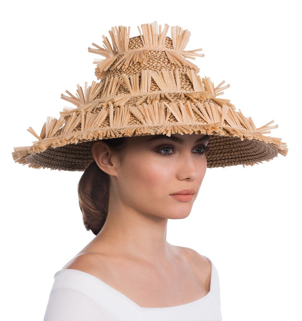 Eric Javits Luxury Fashion Designer Women's Headwear Hat - Tiki Lantern - Peanut