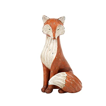 CTG Sitting Fox Figurine, 12 Inches, Orange