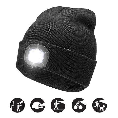 f8af4ba5 Unisex 4 LED Headlamp Beanie Cap, Winter Warm Beanie Hat Hands Free Lighted Beanie  Cap