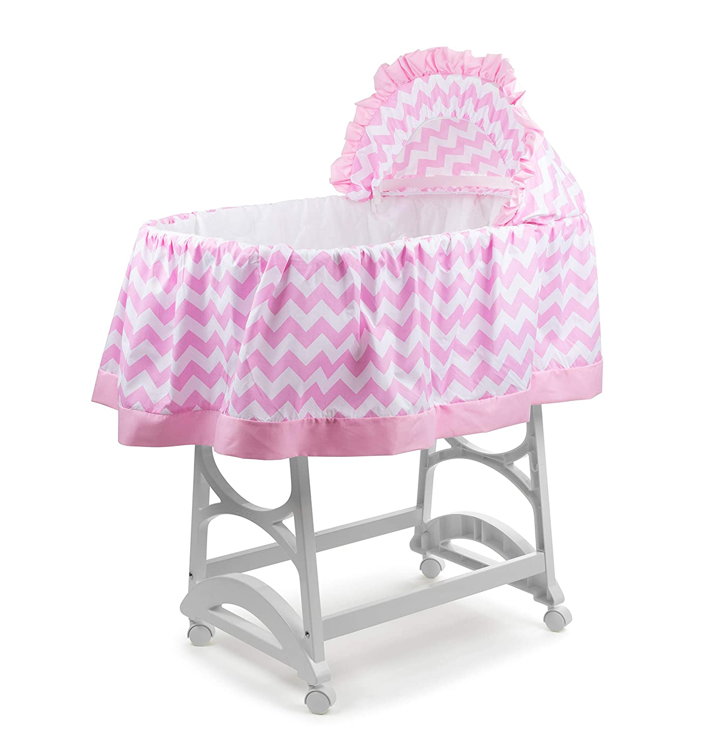 Pink//Fuchsia//White Large aBaby Color Block Bassinet Skirt