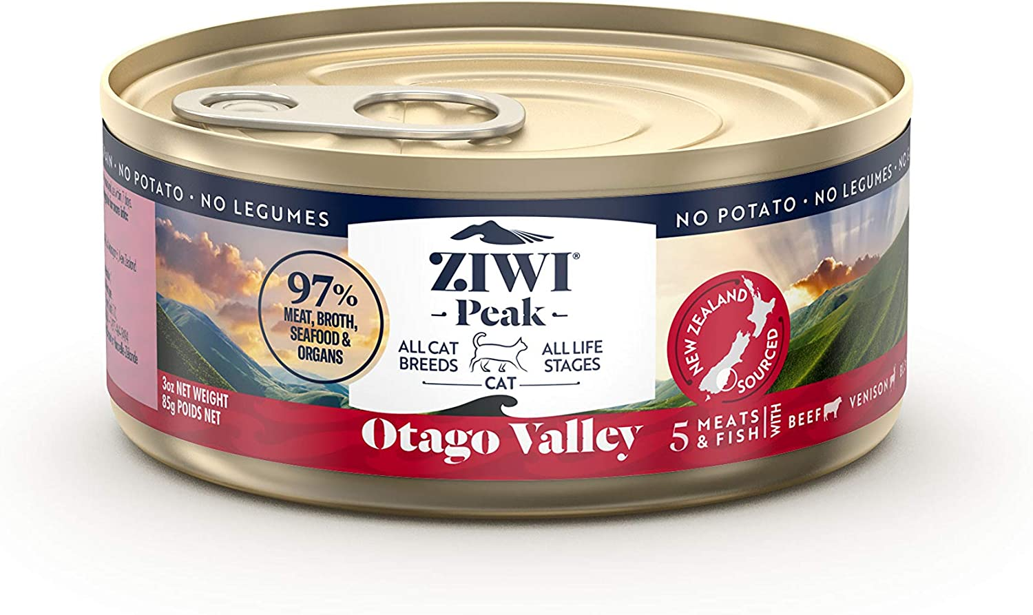 ZIWI Peak Provenance Canned Wet Cat Food – All Natural, High Protein, Grain Free with Superfoods (Otago Valley, Case of 24, 3oz Cans)