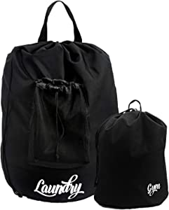 Laundry Bags Extra Large Heavy Duty Laundry Bag Backpack , Laundry Bag With Shoulder Straps Comes With Small Laundry Backpack Laundry Bag For a Camper, College Student, Adults ( 2 Pack) Black
