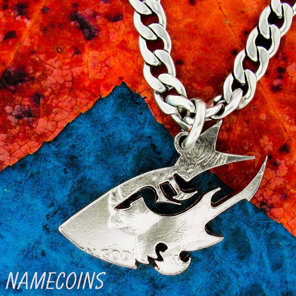 Tribal Shark Necklace, Hand Cut Coin, Men's Oceania Coin Necklace, By NameCoins