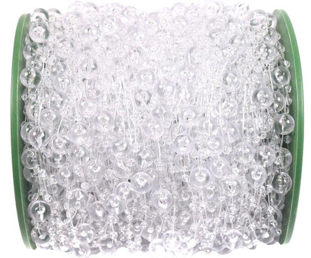 B&S FEEL 200 Feet Roll Clear Crystal Acrylic Party Garland Wedding Centerpiece Bridal Bouquet Decoration