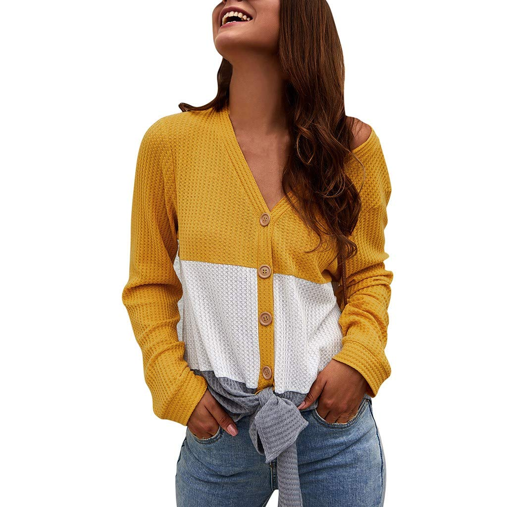 SADUORHAPPY Womens Waffle Knit Tunic Blouse Tie Knot Henley Tops (Hooded) Loose V-Neck Button Fitting Patchwork Plain Shirts by SADUORHAPPY Long Sleeve