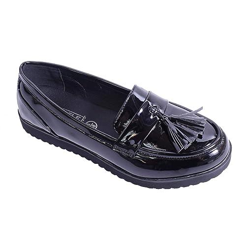LAW Shoes & Clothing - Mocasines de Charol para Mujer, Color Negro, Talla 37