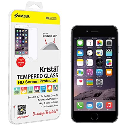 Amzer Kristal HD Tempered Glass for Apple iPhone 6 Screen guards at amazon