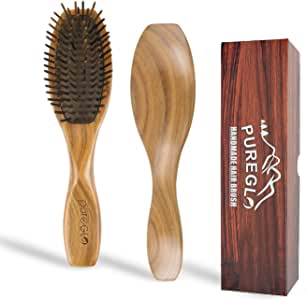 Natural Wooden Hair Brush [Gift Box] - Best Detangling Hairbrush for Curly Wavy Straight Dry Wet Oily Thick or Fine Hair, Reduce Frizz and Breakage for Women Men and Kids, Sandalwood Paddle Bristle