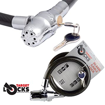 Target TL112 Alarmed Cable Lock - High Security Cable Coil Lock with 110dB  Siren Alarm - Bikes, Bicycles, Scooters, Garden Gates, Securing Helmets