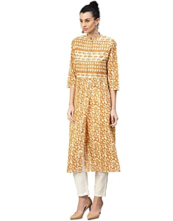 4eb6fdf6a9b9d Jaipur Kurti Women Indian Casual Abstract Tunic Top A-Line Cotton Kurta  (Yellow) at Amazon Women's Clothing store: