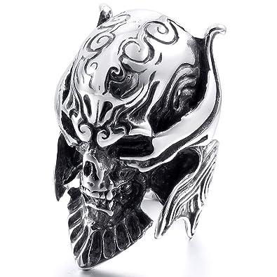 MunkiMix Grande Gran Acero Inoxidable Anillo Ring El Tono De Plata Negro Diablo Cráneo Calavera Grabado Casted Hombre