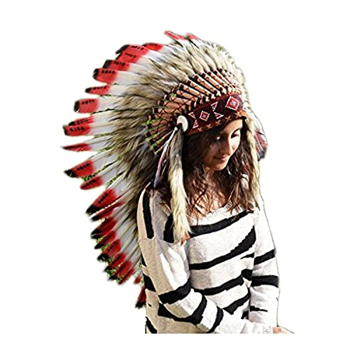 Y07 - Cappello indiano, Rosso Medium Nero / plume / copricapo di piume