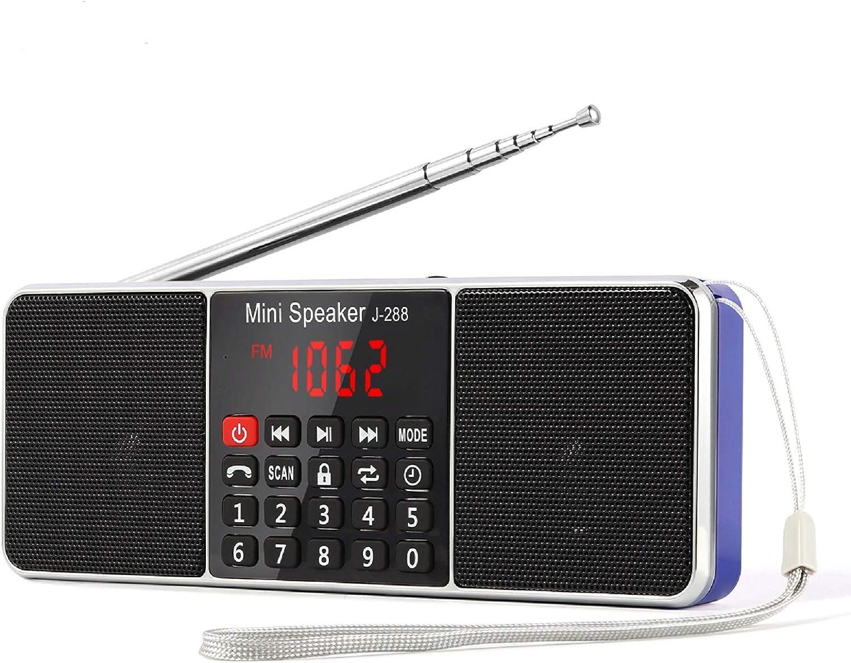 PRUNUS J-288 Bluetooth AM FM Radio Small Digital Portable Radio with Sleep Timer, Power-Saving Display, Ultra-Long Antenna, AUX Input & USB Disk & TF Card MP3 Player(Blue)