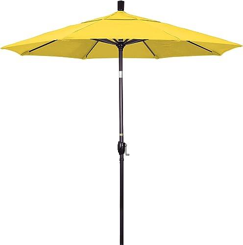 California Umbrella 7.5 Round Aluminum Market Umbrella, Crank Lift, Push Button Tilt, Bronze Pole, Olefin Lemon