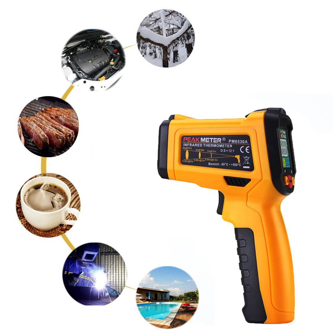 Digital Infrared thermometer Peakmeter PM6530A Laser IR Temperature Gun LCD for Kitchen Cooking Automotive with Temperature Bridge Alarm Function Display -58°F~572°F(-50°C~300°C) by uvcetech (Image #2)