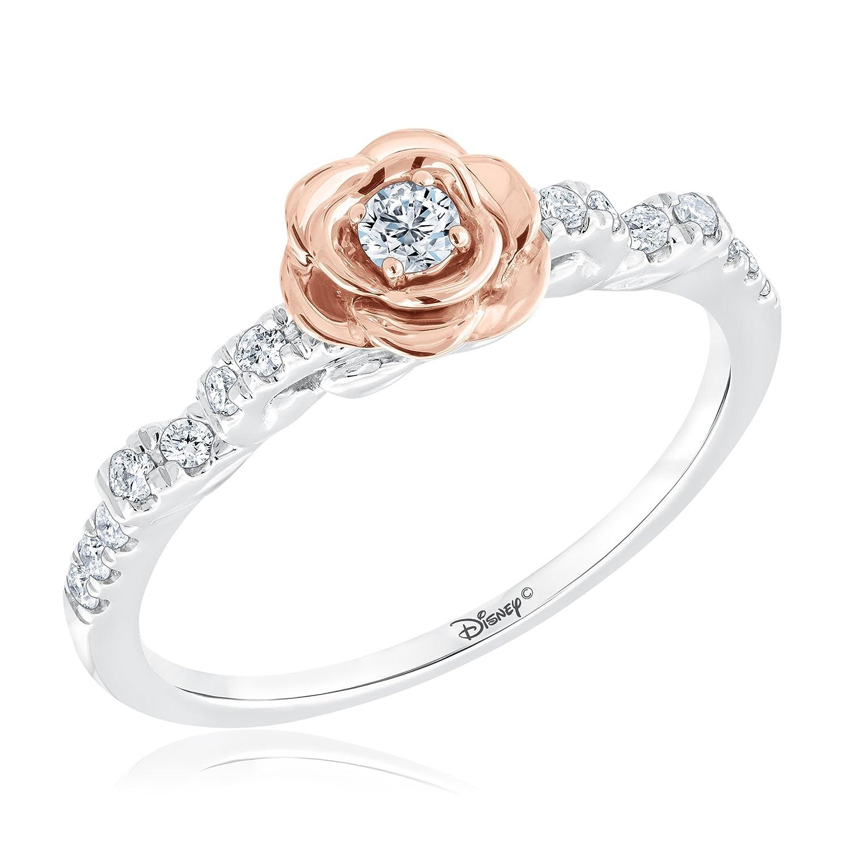 Amazoncom Disney Enchanted Belles Rose Diamond Ring 14ctw Size
