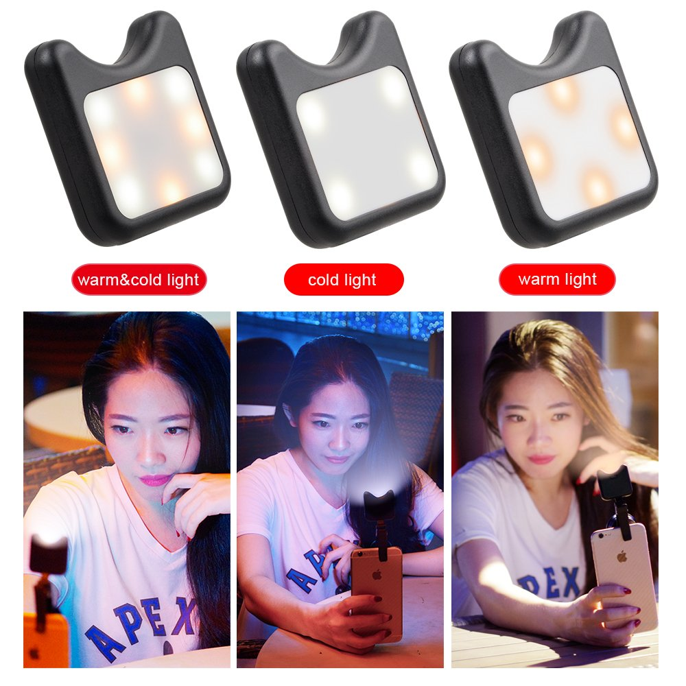 APEXEL Mini Clip On LED Flash Fill Light Selfie Light with 9 Lighting Modes,Cellphone Camera Flash Photo For iPhone iPad and most Android Devices Smartphone