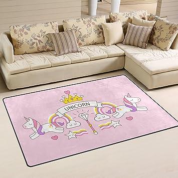 LUPINZ Alfombra diseño de Unicornios para salón, Dormitorio, Cocina, 78,7 x