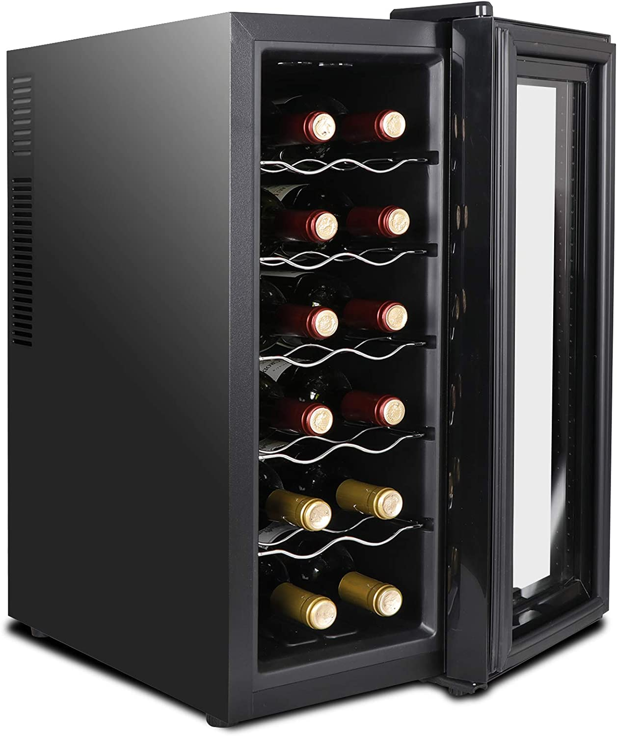 Touch Temperature Display Thermoelectric Wine Cooler Refrigerator Quiet Operation Fridge Counter Top Wine Cooler ZENY 12 Bottle Red//White//Champagne Chiller