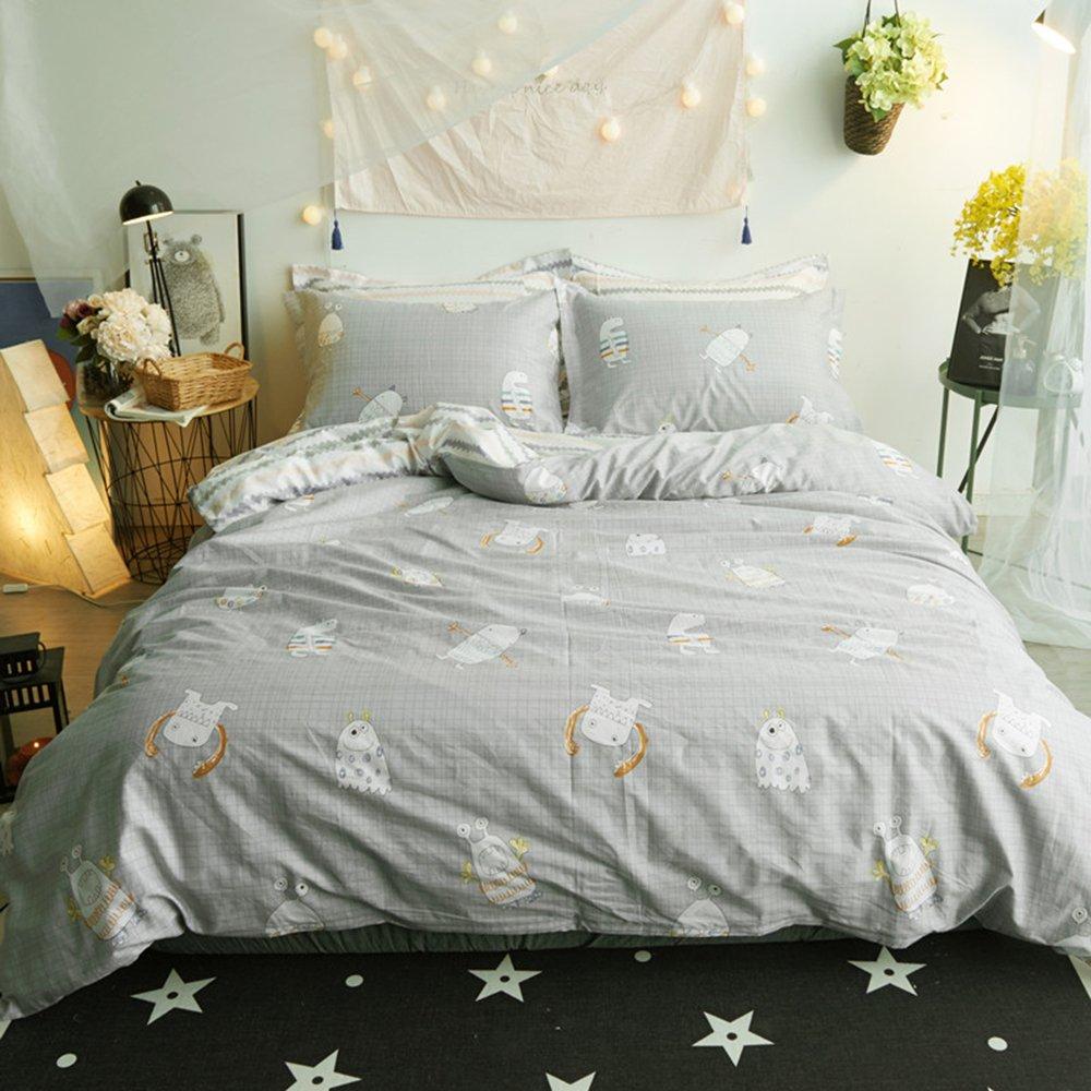 HIGHBUY 3 Piece Cotton Kids Duvet Cover Sets Twin Grey Reversible Wave Stripe Print Twin Bedding Sets for Kids Boys Girls Zipper Closure, 4 Corner Ties