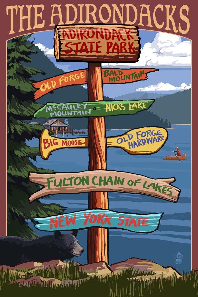 The Adirondacks - Adirondack State Park, New York State - Sign Destinations (12x18 Art Print, Wall Decor Travel Poster) by Lantern Press B00N5DJQIG  12 x 18 Art Print