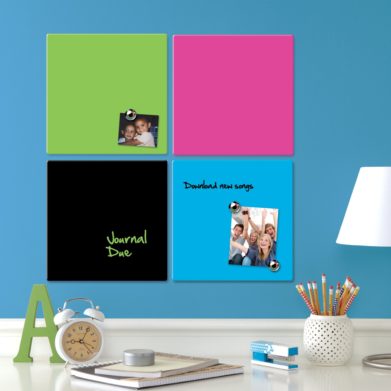 Trocken Abwischbare Tafel Marker Magneten und Montage-Kit 1903803 Pink Inkl Rahmenloses Quadrat 360 x 360 mm Rexel Magnetische