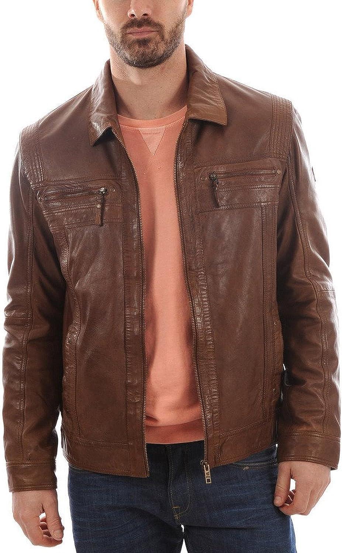 Men Leather Jacket Slim Fit Biker Motorcycle Genuine Lambskin Jacket T779