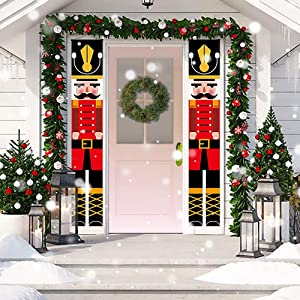 ENERBRIDGE Nutcracker Christmas Decorations - Nutcracker Soldier Christmas Signs Nutcracker Banners for Outdoor Home Wall Door Office Garden Yard Apartment Holiday Xmas Kids Party Decoration¡