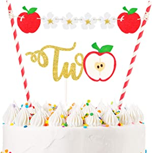 LILIPARTY Set of Apple Two Cake Topper, Fruit Theme Cake Topper with Flowers Bunting for Baby Girls Boys Autumn 2nd Birthday Party, Christmas Eve Party Decoration Supplies Fall Party Decor