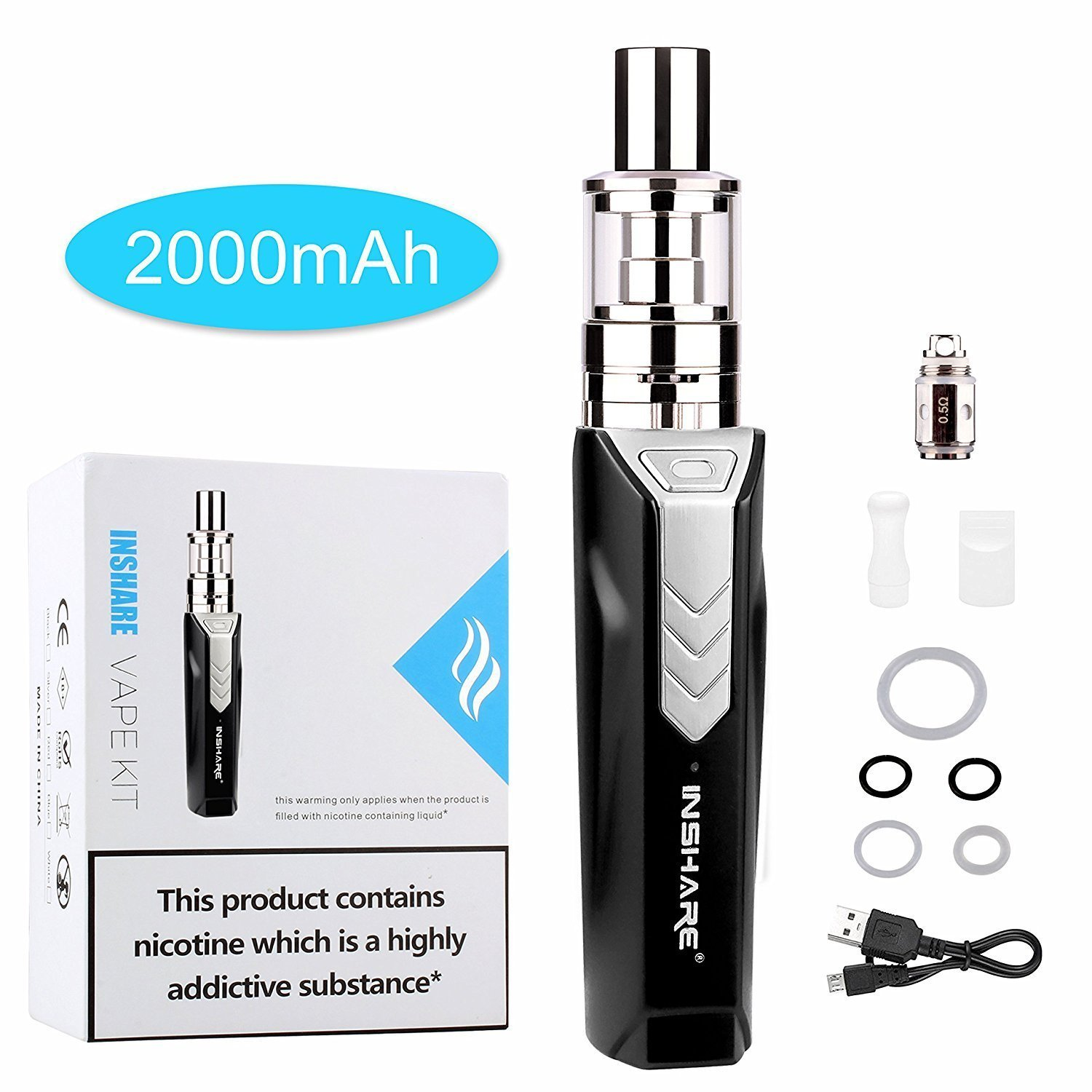 INSHARE® E Cigarette 50W Vape Kit  Box Mod Vape  Stylish Design 2000mAh  Long-lasting Huge Vapour Electronic Cigarette Vape Pen Kit  Micro USB