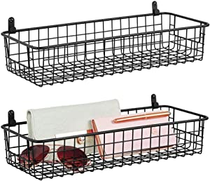 mDesign Portable Metal Farmhouse Wall Decor Storage Organizer Basket Shelf with Handles for Hanging in Entryway, Mudroom, Bedroom, Bathroom, Laundry Room - Wall Mount Hooks Included, 2 Pack - Black