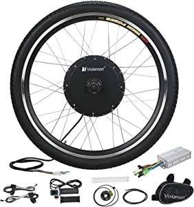 """Voilamart Electric Bicycle Wheel Kit 26"""" Front Wheel 48V 1000W E-Bike Conversion Kit, Cycling Hub Motor with Intelligent Controller and PAS System for Road Bike"""