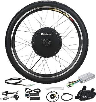Voilamart Kit de rueda de bicicleta eléctrica de 26 pulgadas, rueda delantera de 48 V 1000