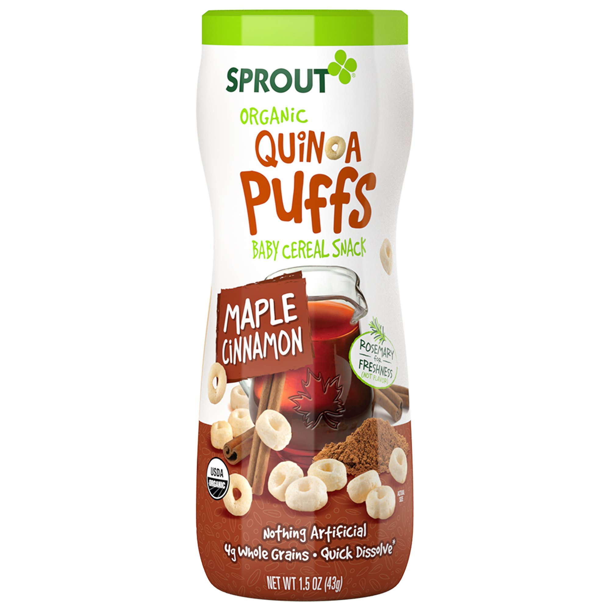 Sprout Organic Baby Food, Sprout Quinoa Puffs Organic Baby Snack, Maple Cinnamon, 1.5 Ounce Canister (Pack of 1), Baby's First Snack, Quick Dissolve, Gluten Free, Made with Whole Grains, USDA Organic
