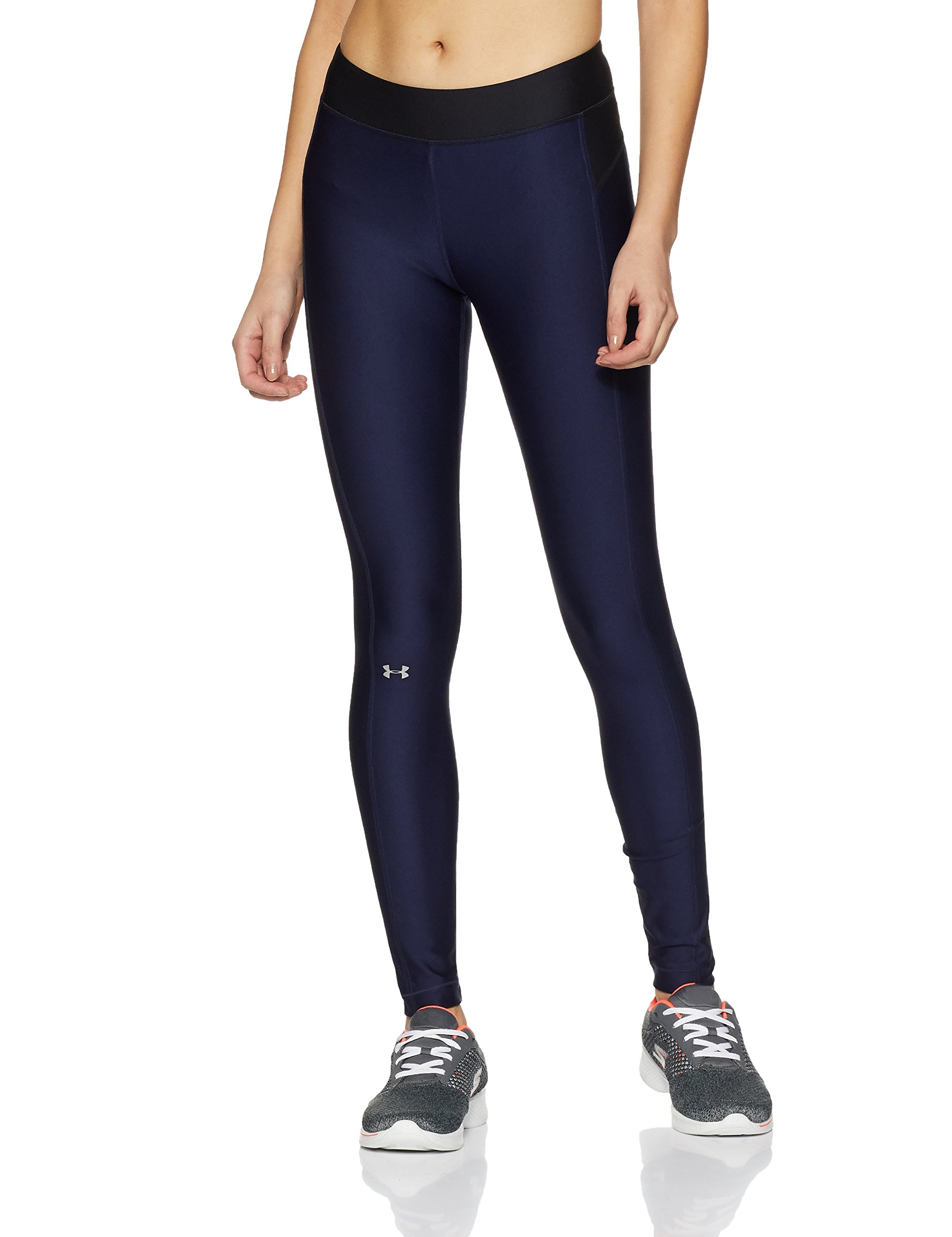 Under Armour Womens Heatgear Armour Leggings, Midnight Navy /Metallic Silver, XX-Large by Under Armour (Image #1)