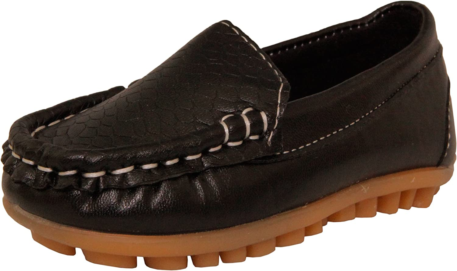 WUIWUIYU Boys Girls Toddlers Casual Cute Suede Slip On Penny Loafers Moccasins Shoes