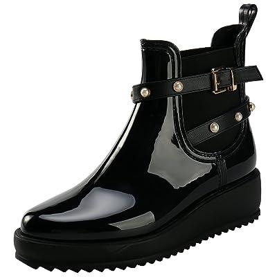 Alexis Leroy Mode Bottes de Pluie à Compensé Cheville Plateforme Chelsea Ankle Boots Femme