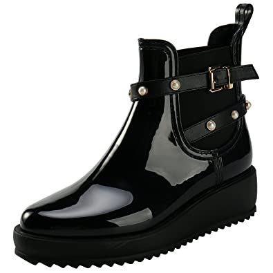 Women Rubber Wedge Heel Elastic Side Panel Short Ankle Rain Boots