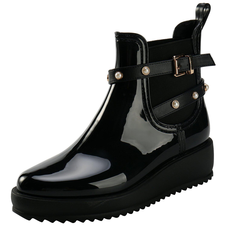 Tisor Womens Rain Boots Platform Slip On Ankle Boots Elastic Short Chelsea Booties Rain Shoes