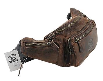 Gürtel Tasche Echt Leder Hüfttasche Reise Bauch Handy Tasche Herren Bag (Rust)