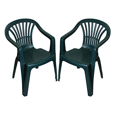 293f4e1aff8e CrazyGadget Plastic Garden Low Back Chair Stackable Patio Outdoor Party  Seat Chairs Picnic Green Pack of 2 (X1): Amazon.co.uk: Garden & Outdoors