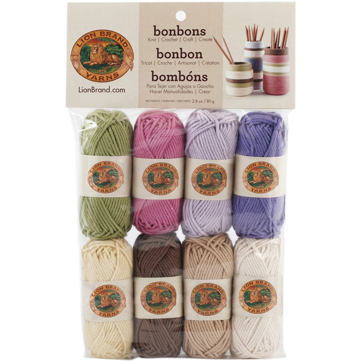 Lion Brand Yarn 601-640 Bonbons Yarn, Nature