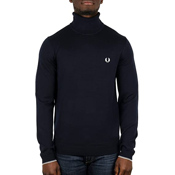 aec2760f9890 Fred Perry Men s Merino Wool Roll Neck Jumper Black  Amazon.co.uk ...