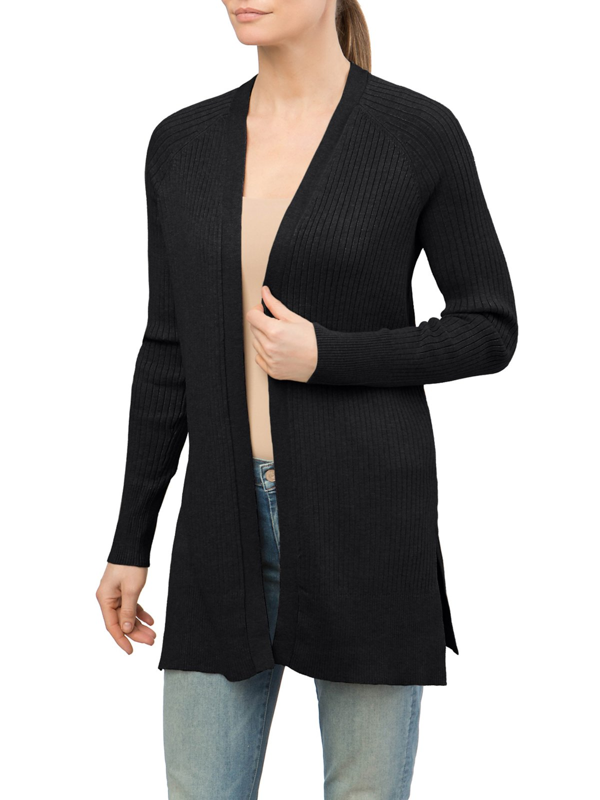 89th&Madison Ribbed Notch Hem Duster Cardigan (XL, Black)