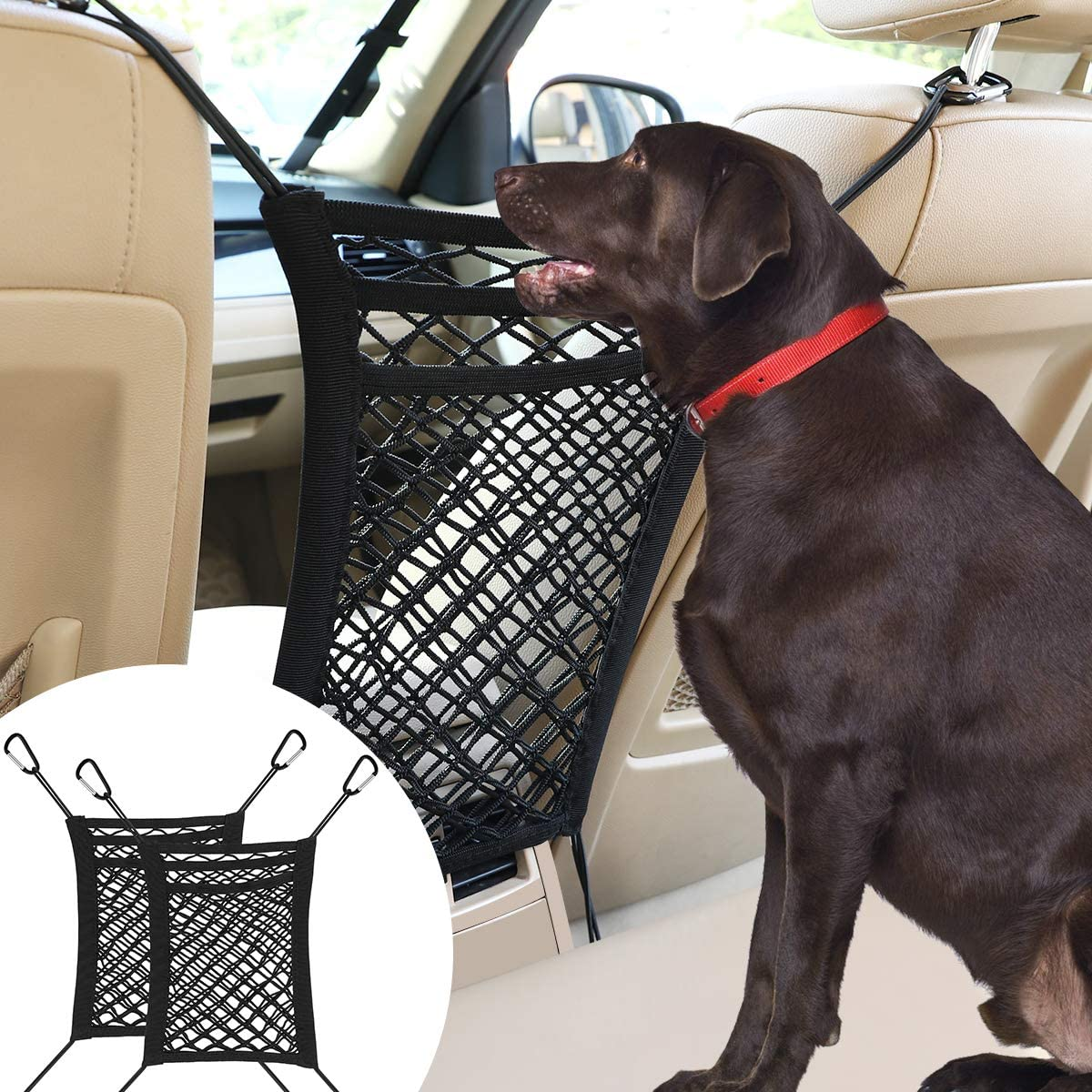 VavoPaw Dog Car Net Barrier, 2 Pack Pet Stretchable Mesh Obstacle Storage Bag Universal for SUVs, Cars, 3 Layers Easy Install Back Seat Safe Disturb Stopper to Drive with Children & Pets - Black