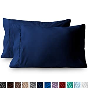 Bare Home Premium 1800 Ultra-Soft Microfiber Pillowcase Set - Double Brushed - Hypoallergenic - Wrinkle Resistant (Standard Pillowcase Set of 2, Dark Blue)