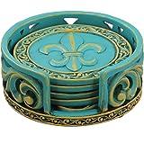 Old River Outdoors Rustic Fleur De Lis Coaster Set w/Ornate Holder (Teal Blue)
