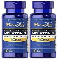 Melatonin by Puritan's Pride, Nighttime Sleep Aid, Super Strength Rapid Release Capsules, 10mg, 2 Bottles of 120 Capsules